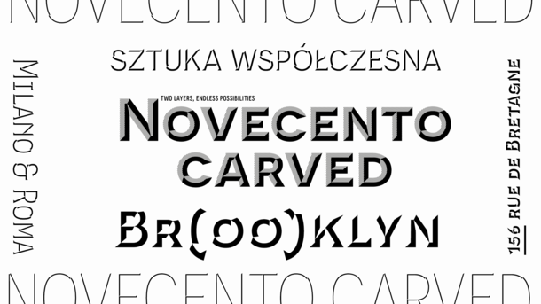 Novecento Carved type design